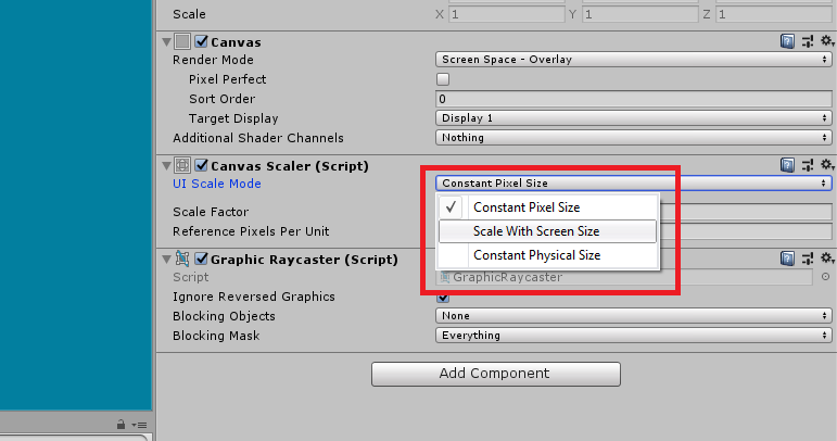 unity 3d canvas scaler scale with screen size
