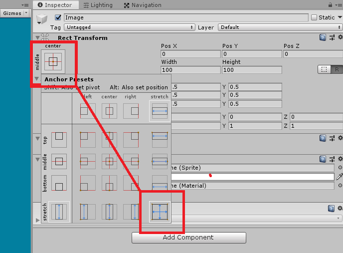 unity 3d rect transform anchor preset window alt key