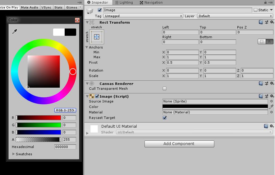 unity 3d image background color