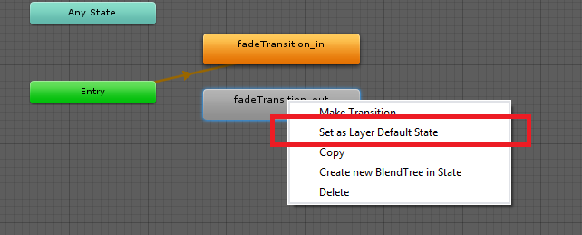 unity 3d set as layer default state
