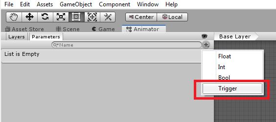 unity 3d animator trigger parameter