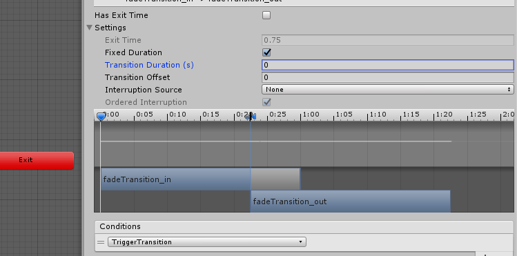 unity animator inspector transition duration