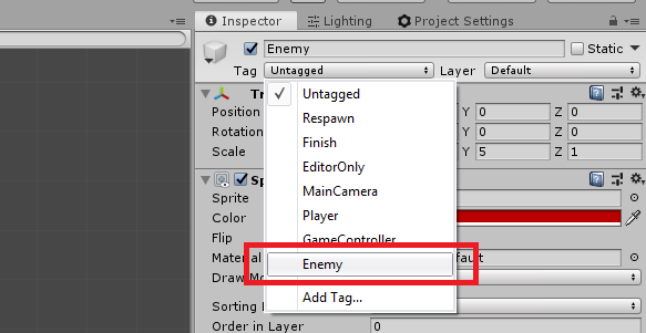 unity 3d creating new game object tags
