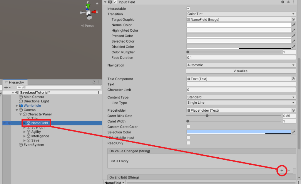 Adding events on value changed of input fields in unity game