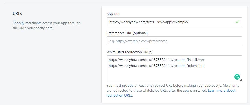 Shopify App Settings URLs
