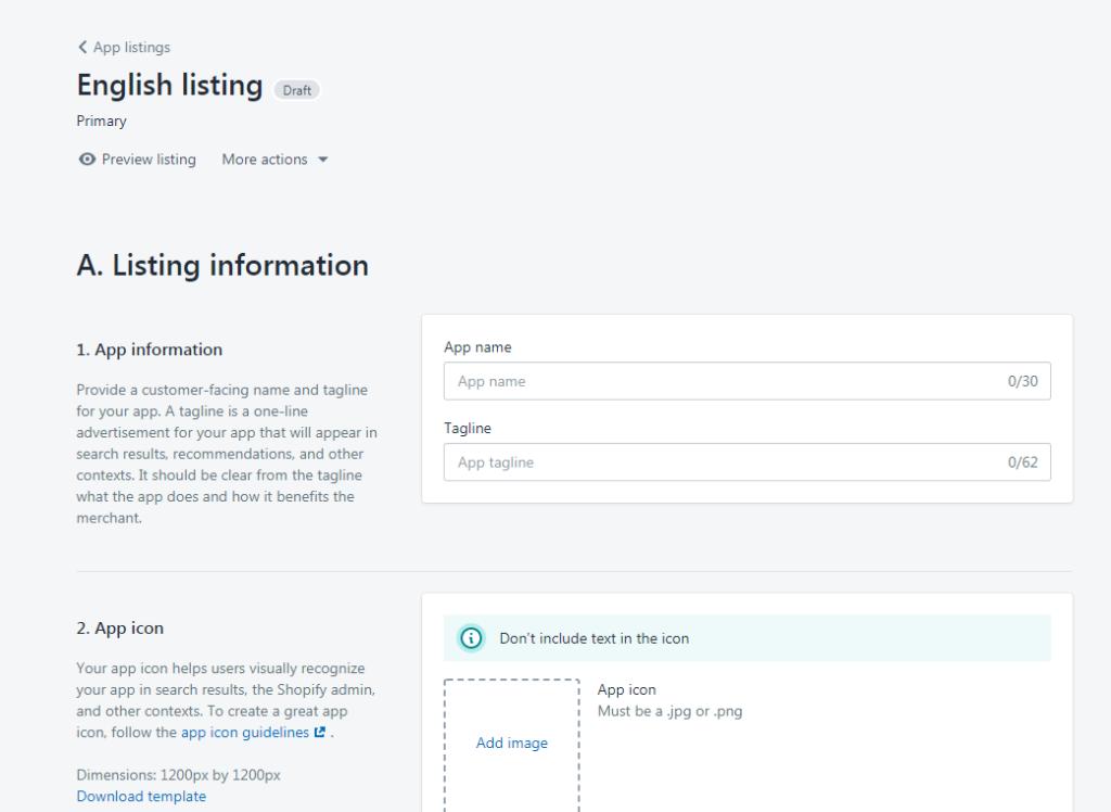 shopify app english listing information