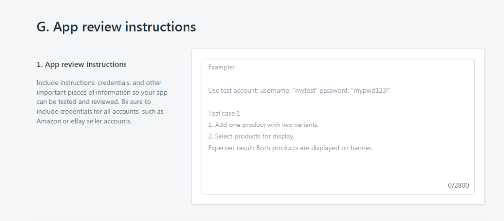 shopify app review instructions for listing
