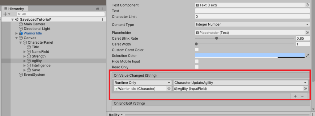 example events in input fields