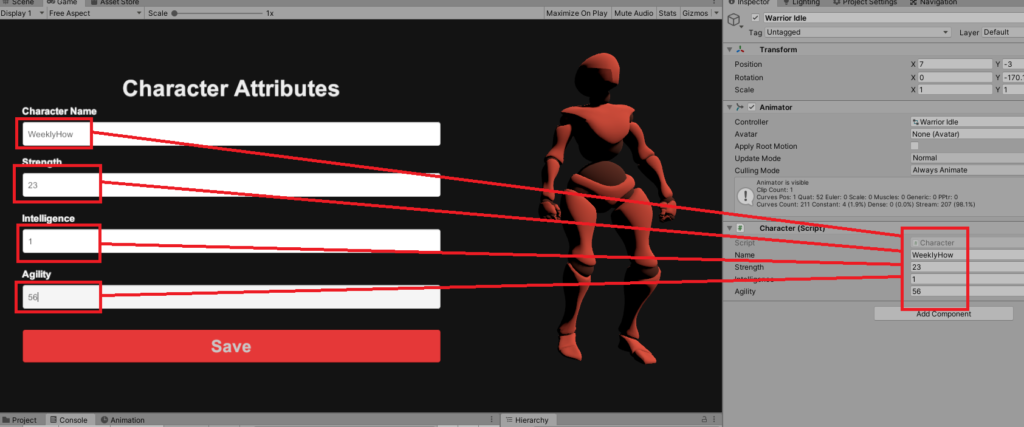 sample output of input field events on change in unity