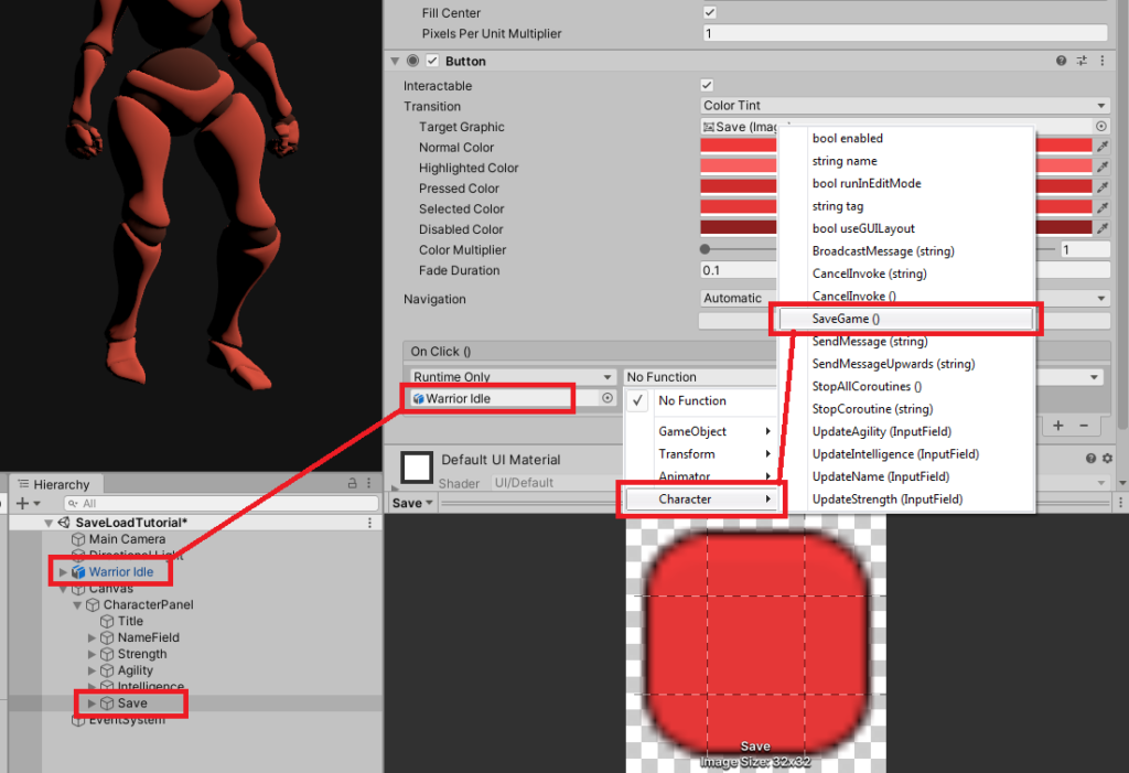 Adding on click events for ui buttons in unity