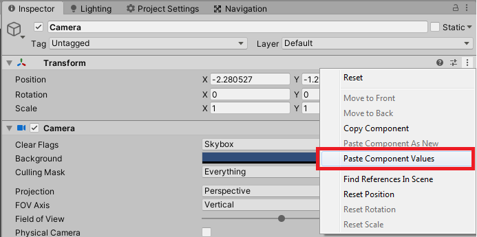 copying values of components in unity