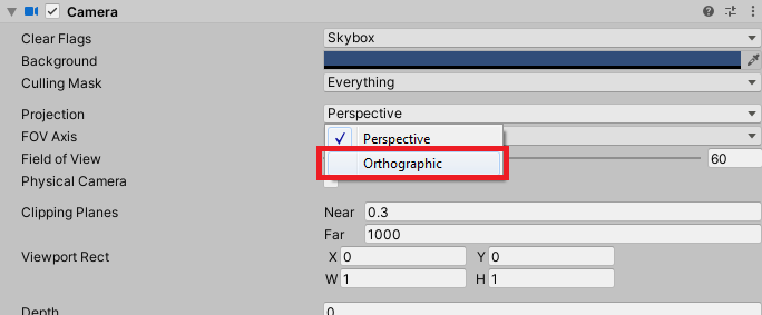 unity camera projection settings