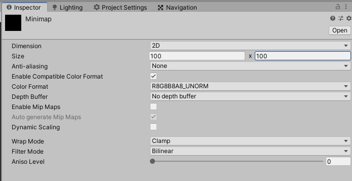 render texture settings in unity