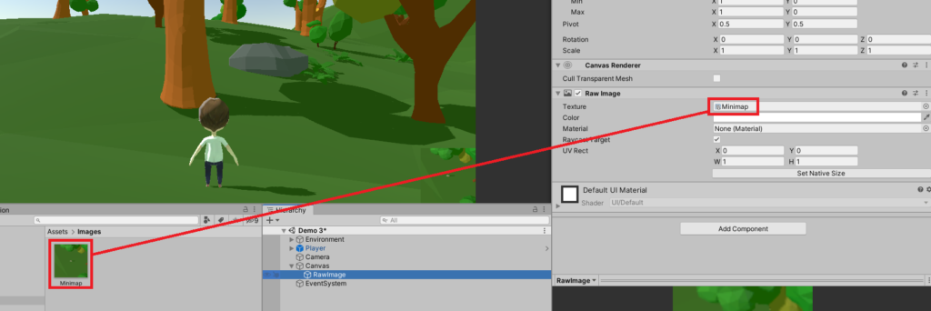 applying render textures to raw images in unty