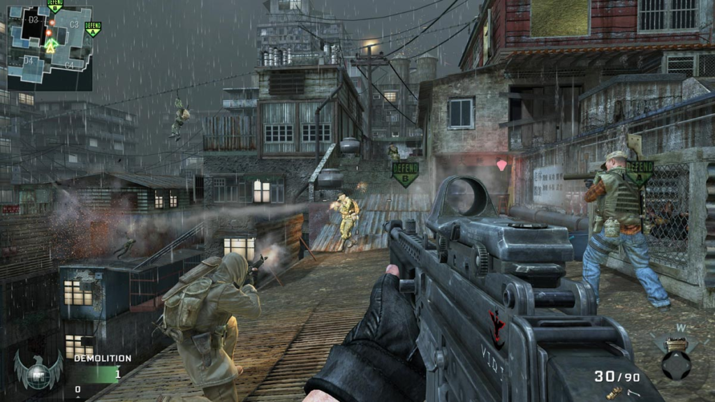 Call of Duty gameplay with minimap