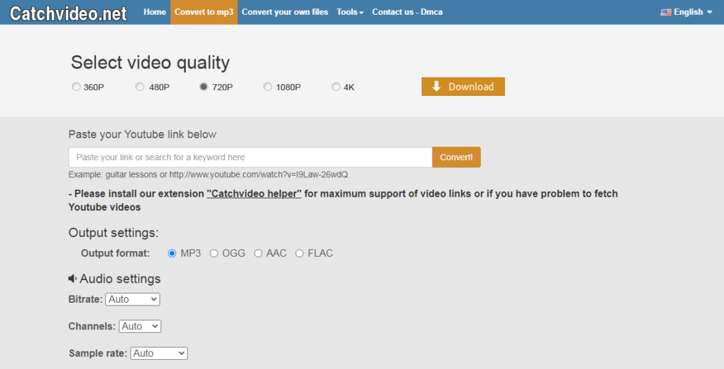 CatchVideo.net YouTube to OGG converter official website application