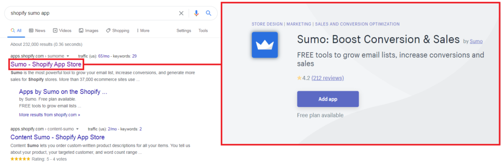 Searching for Shopify apps in Google