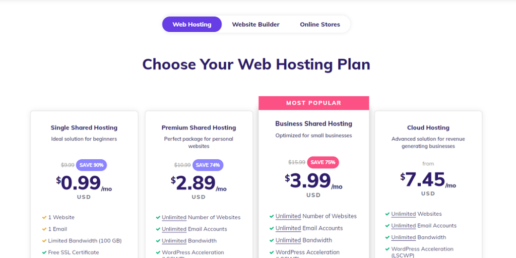 Hostinger web hosting plan update in 2020