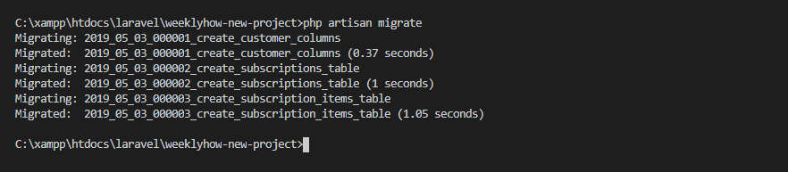 php artisan migrate command image