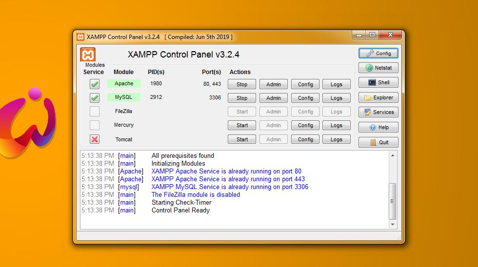 XAMPP control panel v.3.2.4