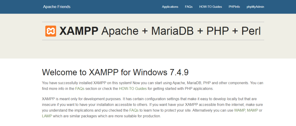 XAMPP for windows 7.4.9 localhost homepage