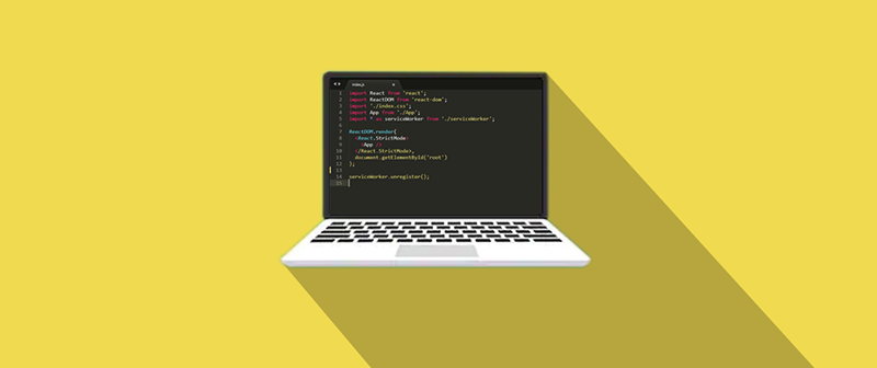 JavaScript on computer laptop vector image wallpaper