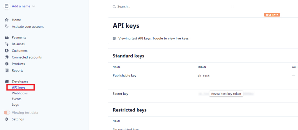 stripe dashboard api keys page