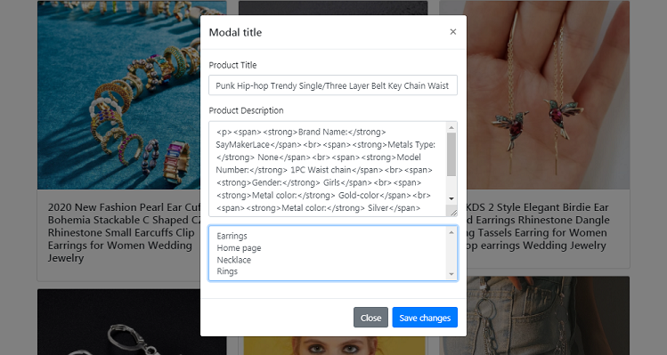 updating shopify products in bootstrap modal