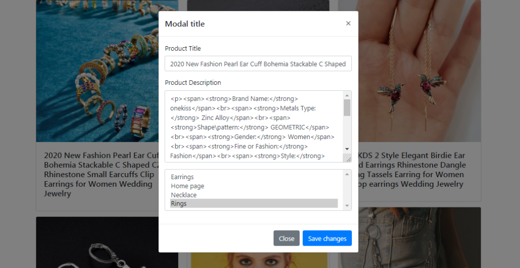 Updating shopify product collection in bootstrap modal